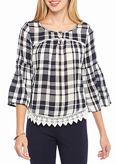 crown & ivy™ Bell Sleeve Button Blouse