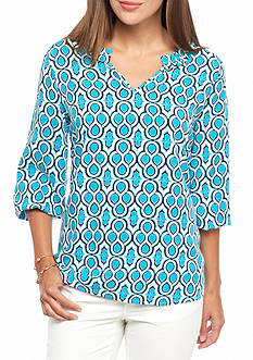 crown & ivy™ Ruffle Neck Peasant Top