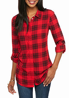 crown & ivy™ Plaid Roll Sleeve Tunic