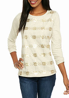 crown & ivy™ Sequin Stripe Sweatshirt
