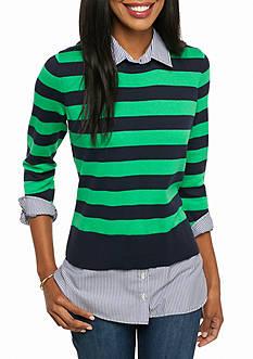 crown & ivy™ Sweater Shirt 2Fer Top