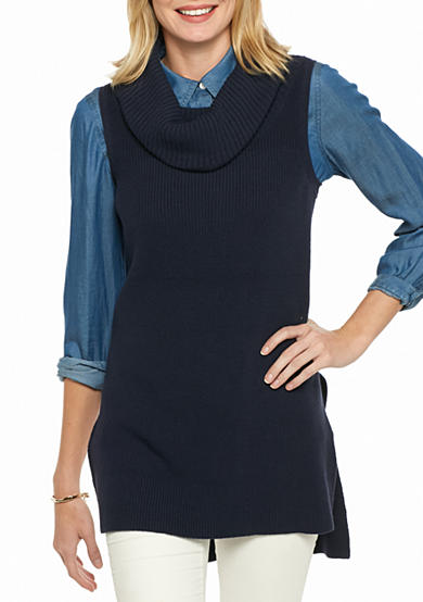 crown & ivy™ Cowl Neck Extreme Sleeveless Sweater