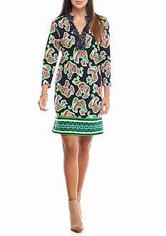 crown & ivy™ Crochet Neck Ponte Dress