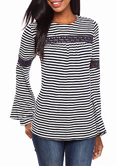 crown & ivy™ Striped Flare Sleeve Top