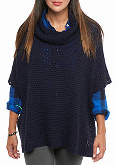 Crown & Ivy™ Cowl Neck Poncho Sweater