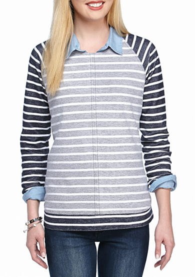 crown & ivy™ Stripe French Terry Sweatshirt