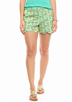 crown & ivy™ Tropical Maze Scallop Shorts
