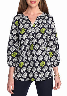 crown & ivy™ Elephant Parade Peasant Top