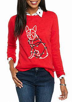 crown & ivy™ Tangled Terrier Intarsia Sweater