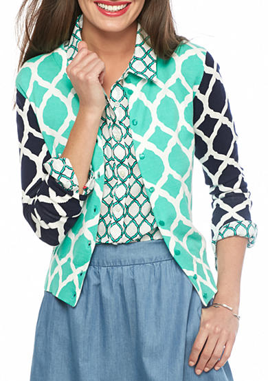 crown & ivy™ Lattice Print Cardigan
