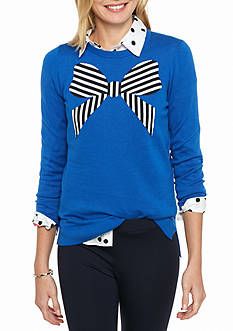 crown & ivy™ Stripe Bow Intarsia Sweater