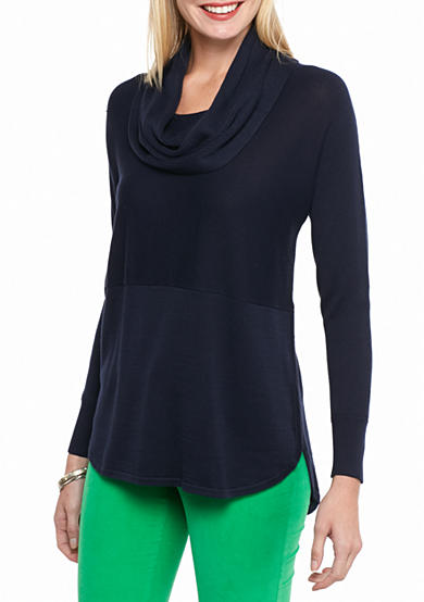 crown & ivy™ Solid Cowl Neck Sweater