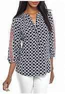 crown & ivy™ Printed Smock Neck Peasant Top