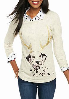 crown & ivy™ Reindeer Dog 3/4 Sleeve Tee