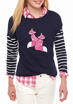 crown & ivy™ Foxy Sweatshirt With Stripe Sleeve
