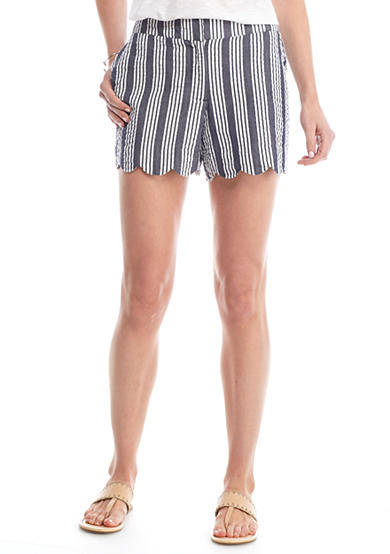 Crown & Ivy™ Scallop Hem Stripe Shorts