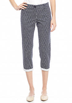 Crown & Ivy™ Lotus Print Casual Cropped Pants