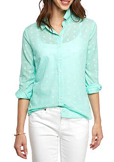 Crown & Ivy™ Woven Tonal Dot Shirt