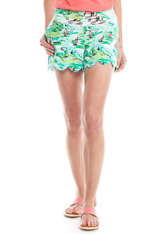 Crown & Ivy™ Printed Scallop Shorts