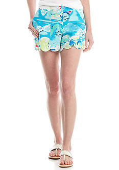 Crown & Ivy™ Print Woven Scallop Hem Short