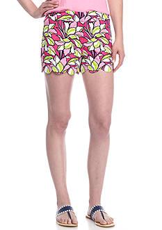 Crown & Ivy™ Print Twill Scallop Hem Shorts