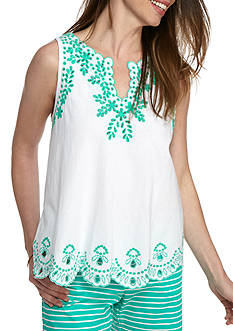 Crown & Ivy™ Embroidered Split Neck Tank