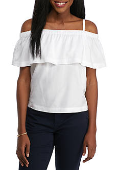 Crown & Ivy™ Cold Shoulder Double Layered Top