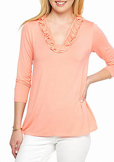 Crown & Ivy™ 3/4 Sleeve Ruffle Neck Knit Top