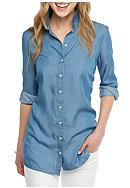 Crown & Ivy™ Button Back Chambray Shirt