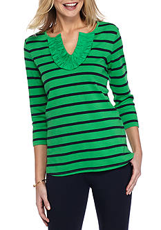 Crown & Ivy™ Knit Top With Ruffle Neck