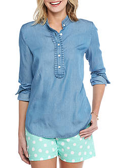 crown & ivy™ Ruffle Front Popover Blouse