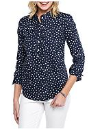 Crown & Ivy™ Polka Dot Ruffle Front Shirt