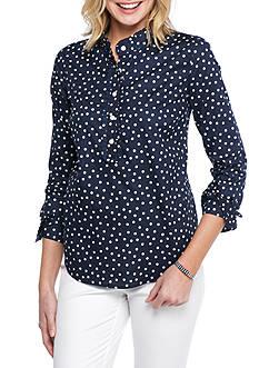 Crown & Ivy™ Polka Dot Ruffle Front Shirt