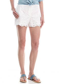 Crown & Ivy™ Scallop Hem Eyelet Shorts