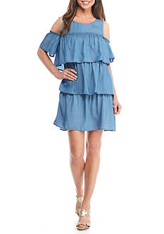 Crown & Ivy™ Cold Shoulder Tiered Dress