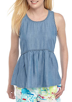Crown & Ivy™ Chambray Pom Trim Peplum Top
