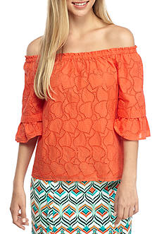 Crown & Ivy™ Eyelet Off-the-Shoulder Top