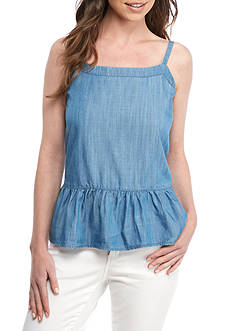 Crown & Ivy™ Chambray Flounce Hem Tank Top