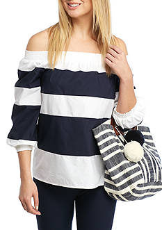 Crown & Ivy™ Wide Stripe Off The Shoulder Top