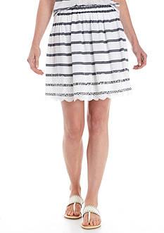 Crown & Ivy™ Stripe Schiffli Skirt