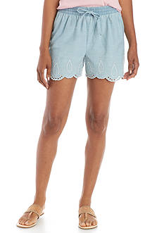 Crown & Ivy™ Embroidered Pull-On Shorts