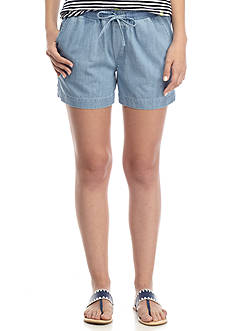 Crown & Ivy™ Tape Trim Chambray Shorts