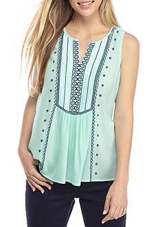 Crown & Ivy™ Sleeveless Embroidered Top