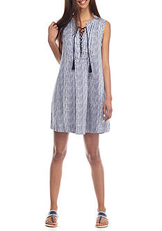 Crown & Ivy™ Sleeveless Stripe Linen Dress