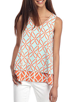 Crown & Ivy™ Print Double Layer Sleeveless Top