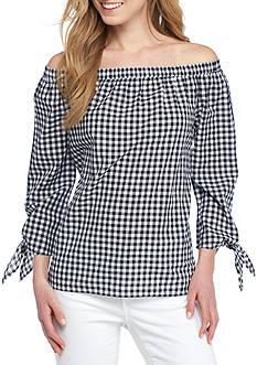 Crown & Ivy™ Gingham Off the Shoulder Shirt