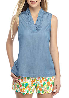 Crown & Ivy™ Chambray Ruffle Neck Top