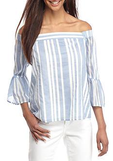 Crown & Ivy™ Stripe Off-The-Shoulder Top