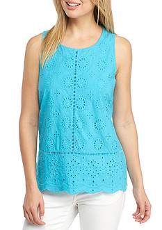 Crown & Ivy™ Eyelet Knit Tank Top