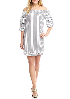 Crown & Ivy™ Poplin Lace Woven Stripe Dress